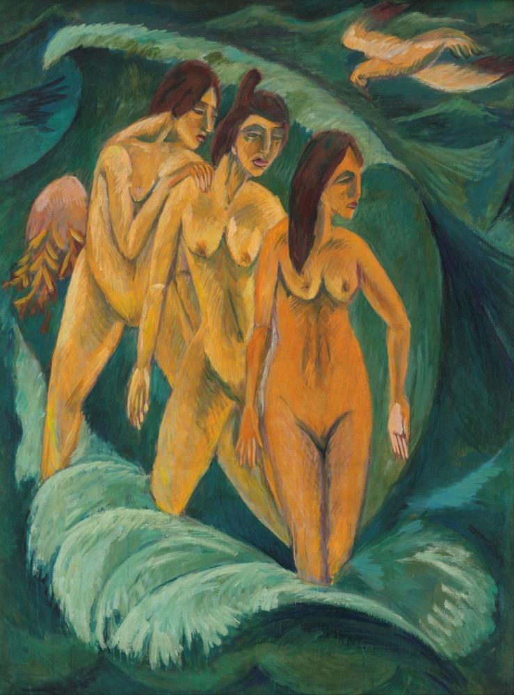 Ernst Ludwig Kirchner, Üç Yıkanan, Figür, Ernst Ludwig Kirchner, kanvas tablo, canvas print sales