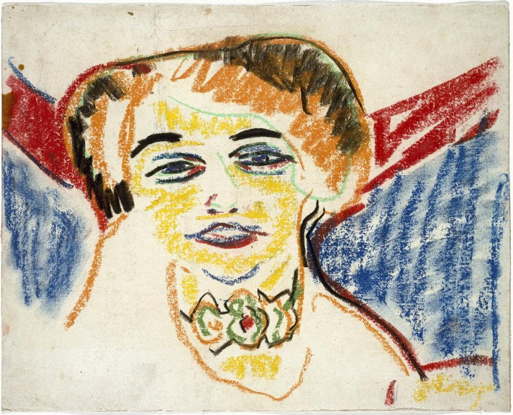 Ernst Ludwig Kirchner, Bir Kadın Başı, Figür, Ernst Ludwig Kirchner, kanvas tablo, canvas print sales