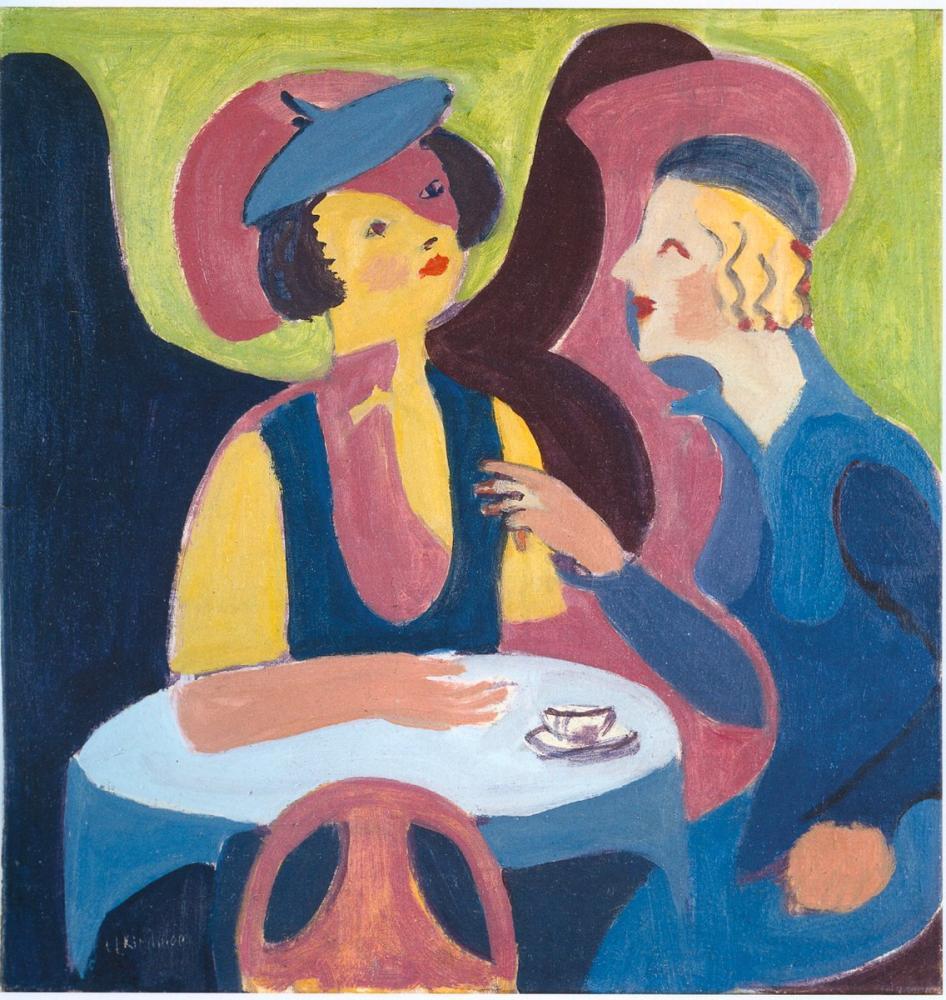 Ernst Ludwig Kirchner, Kafede İki Bayan, Figür, Ernst Ludwig Kirchner, kanvas tablo, canvas print sales