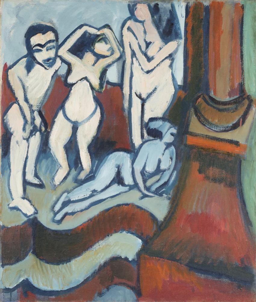 Ernst Ludwig Kirchner, Dört Ahşap Heykel, Figür, Ernst Ludwig Kirchner, kanvas tablo, canvas print sales