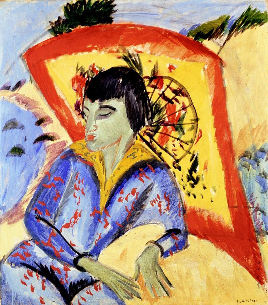 Ernst Ludwig Kirchner, Erna mit Japanschirm, Figure, Ernst Ludwig Kirchner, kanvas tablo, canvas print sales