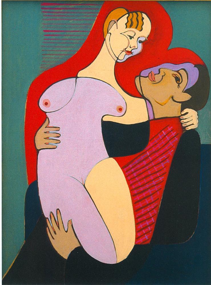 Ernst Ludwig Kirchner, Büyük Aşıklar, Figür, Ernst Ludwig Kirchner, kanvas tablo, canvas print sales