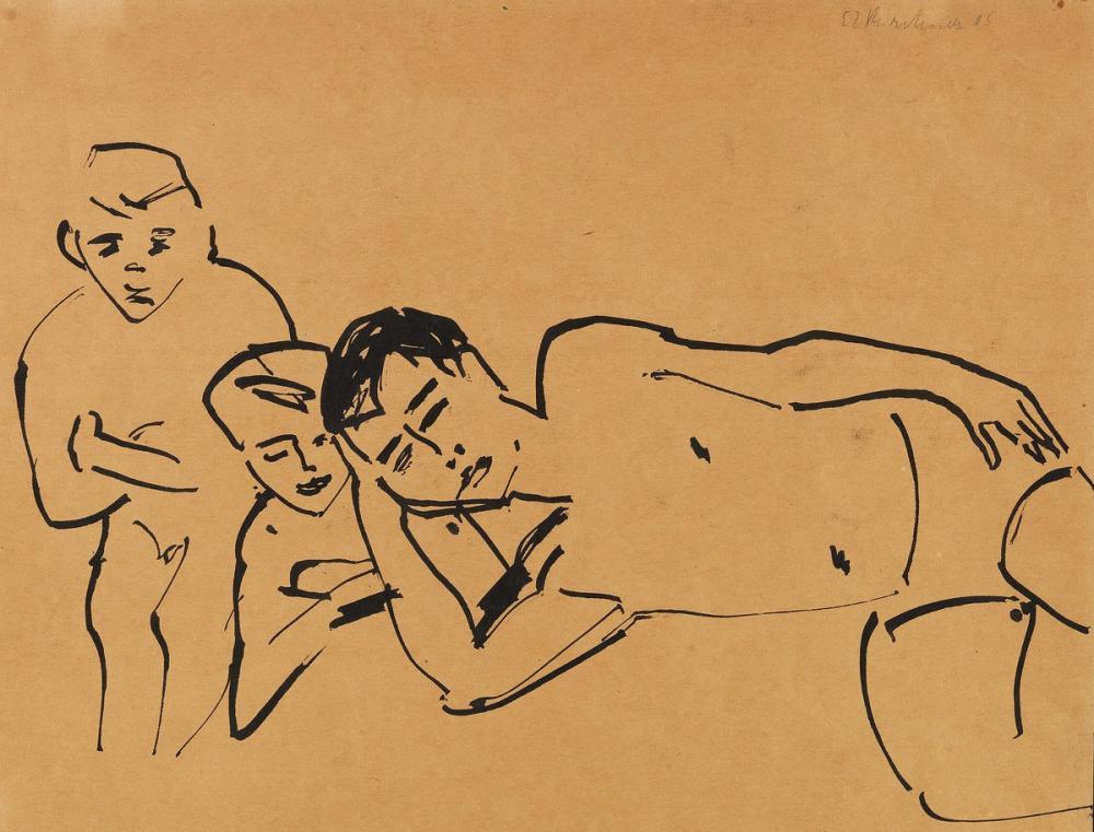 Ernst Ludwig Kirchner, Drei Personen, Figure, Ernst Ludwig Kirchner, kanvas tablo, canvas print sales