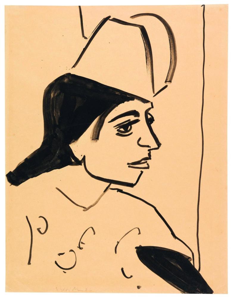 Ernst Ludwig Kirchner, Mädchenkopf, Figure, Ernst Ludwig Kirchner, kanvas tablo, canvas print sales