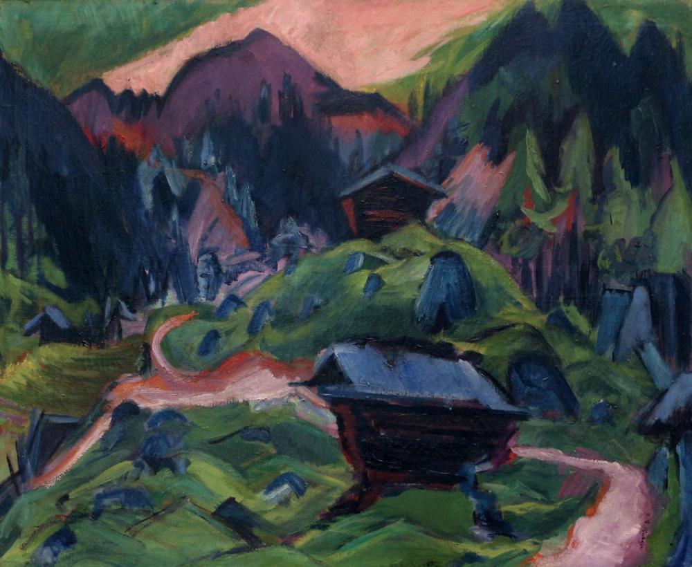 Ernst Ludwig Kirchner, Kummeralp Dağı ve İki Baraka, Kanvas Tablo, Ernst Ludwig Kirchner, kanvas tablo, canvas print sales