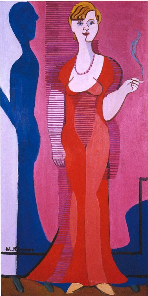 Ernst Ludwig Kirchner, Kırmızı Elbiseli Sarışın Kadın Elisabeth Hembus Portresi, Figür, Ernst Ludwig Kirchner, kanvas tablo, canvas print sales