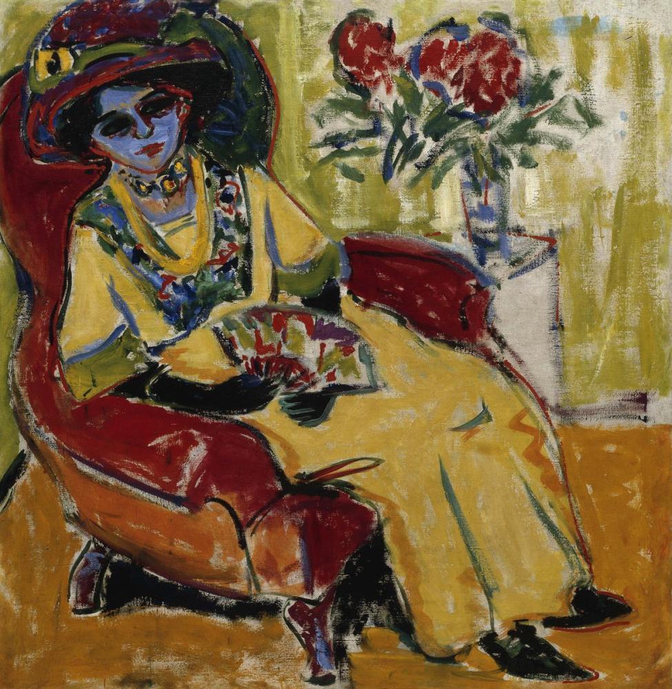 Ernst Ludwig Kirchner, Sitting Woman, Figure, Ernst Ludwig Kirchner, kanvas tablo, canvas print sales