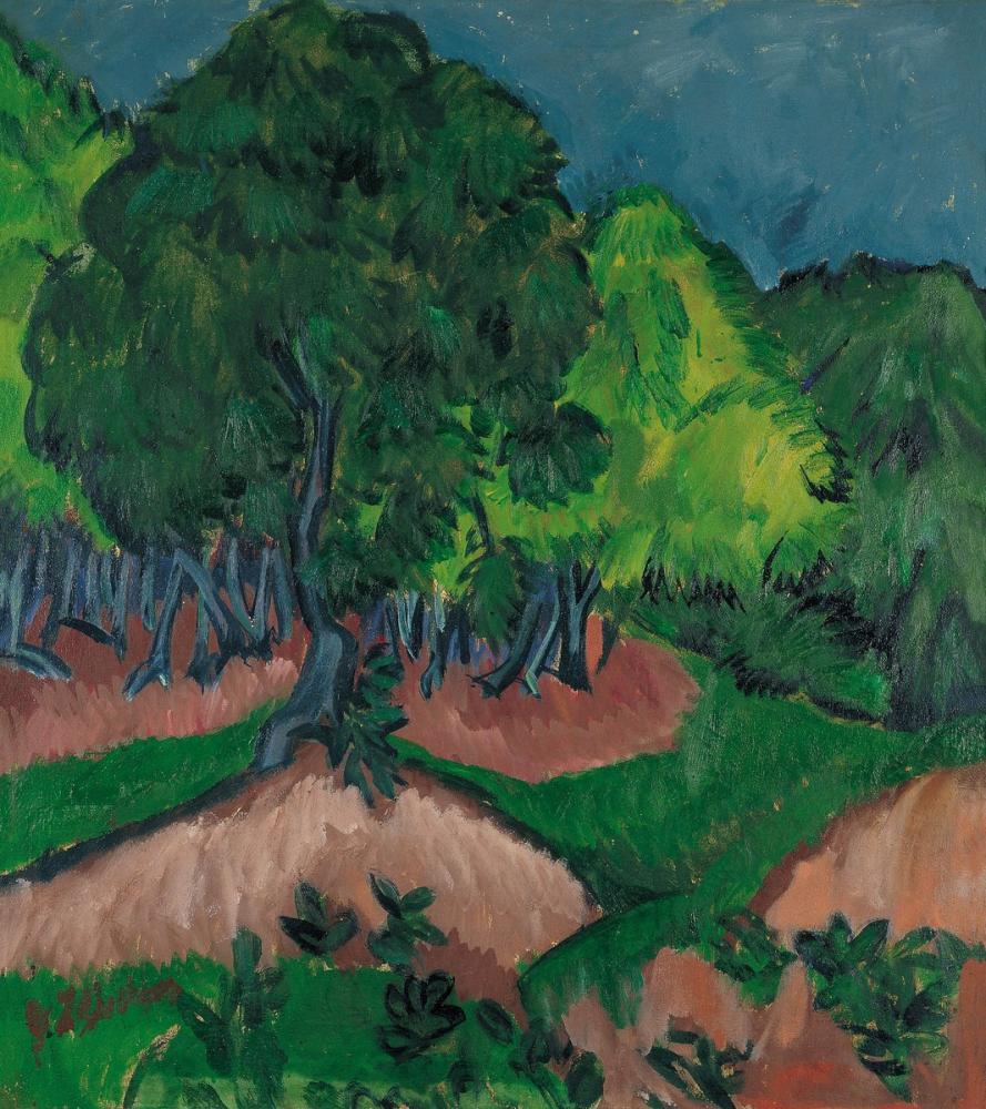 Ernst Ludwig Kirchner, Kestane ile Manzara, Kanvas Tablo, Ernst Ludwig Kirchner, kanvas tablo, canvas print sales