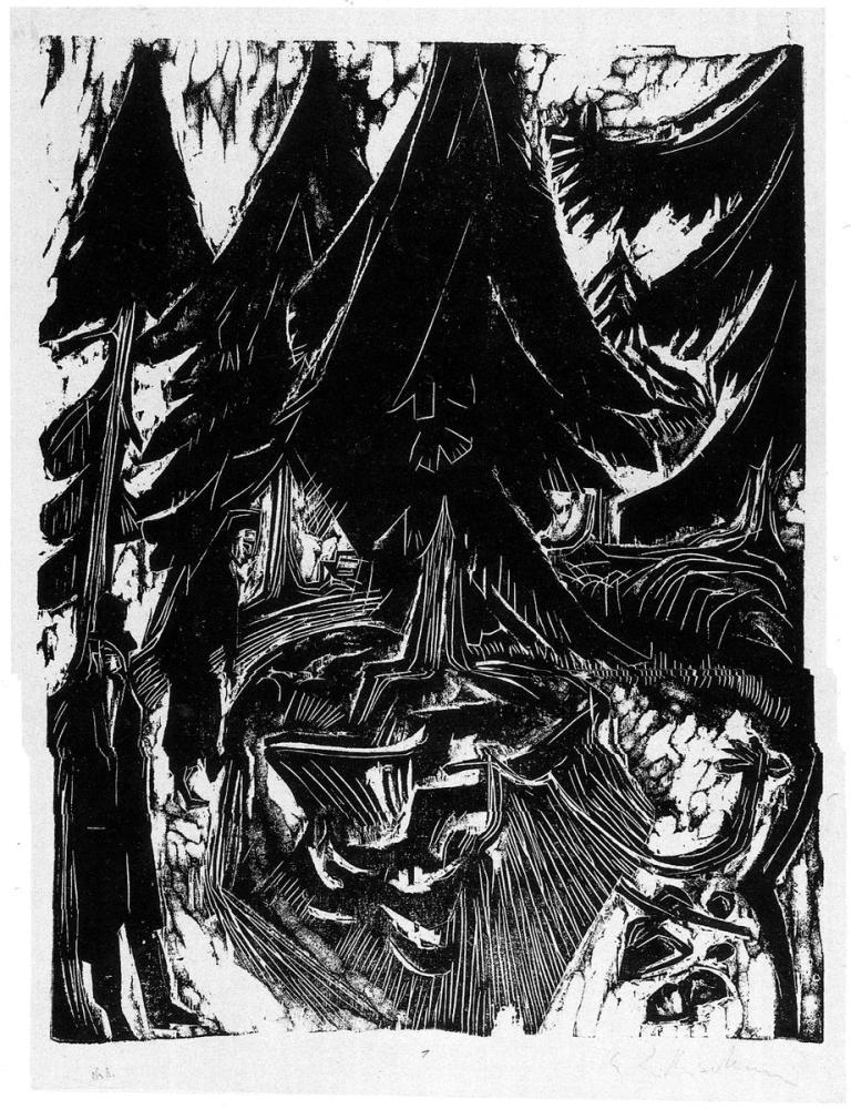 Ernst Ludwig Kirchner, Sanatorium Yürüyüş Gravür, Figür, Ernst Ludwig Kirchner, kanvas tablo, canvas print sales