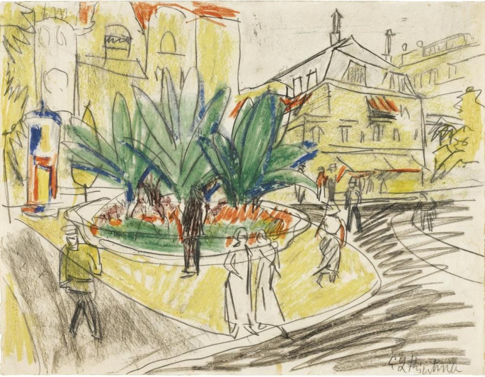 Ernst Ludwig Kirchner, Das Boskett auf dem Albertplatz in Dresden, Figure, Ernst Ludwig Kirchner, kanvas tablo, canvas print sales