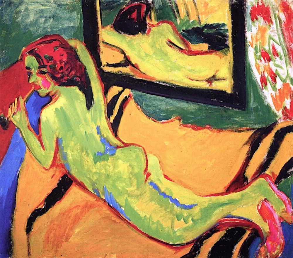 Ernst Ludwig Kirchner, Bir Aynanın Önünde Yatan Çıplak, Figür, Ernst Ludwig Kirchner, kanvas tablo, canvas print sales
