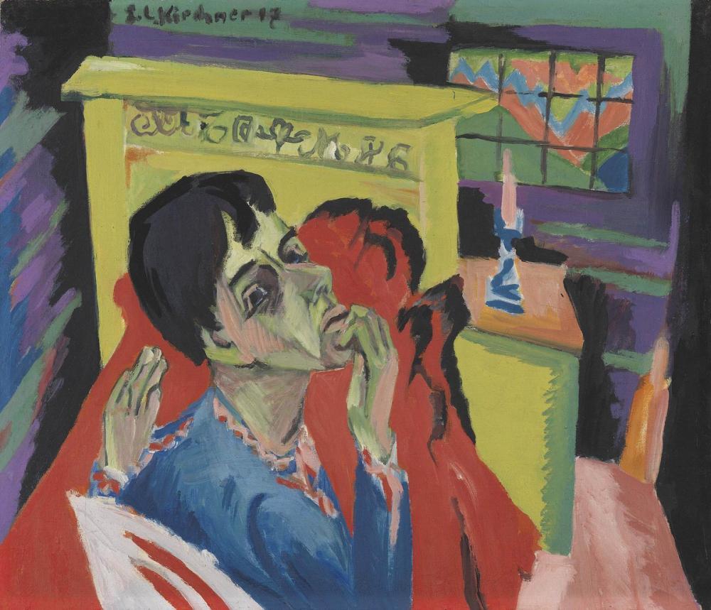 Ernst Ludwig Kirchner, Hasta Bir Adam Olarak Otoportre, Figür, Ernst Ludwig Kirchner, kanvas tablo, canvas print sales