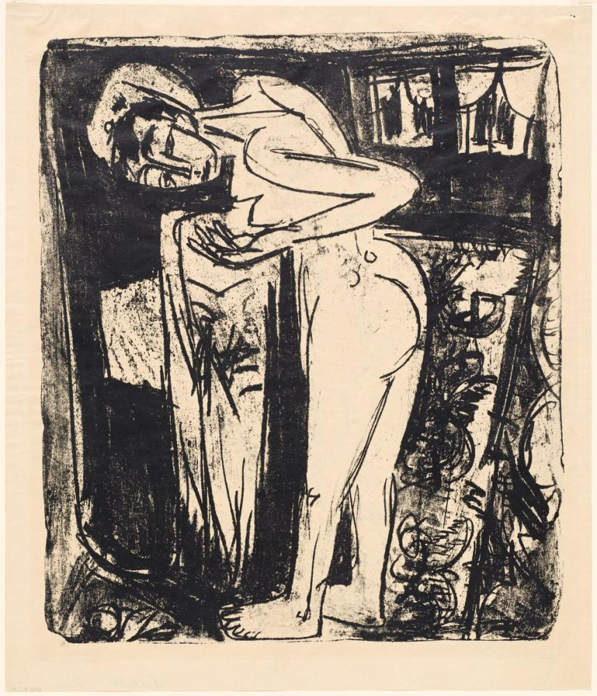 Ernst Ludwig Kirchner, Bir Odada Ayakta Çıplak, Figür, Ernst Ludwig Kirchner, kanvas tablo, canvas print sales