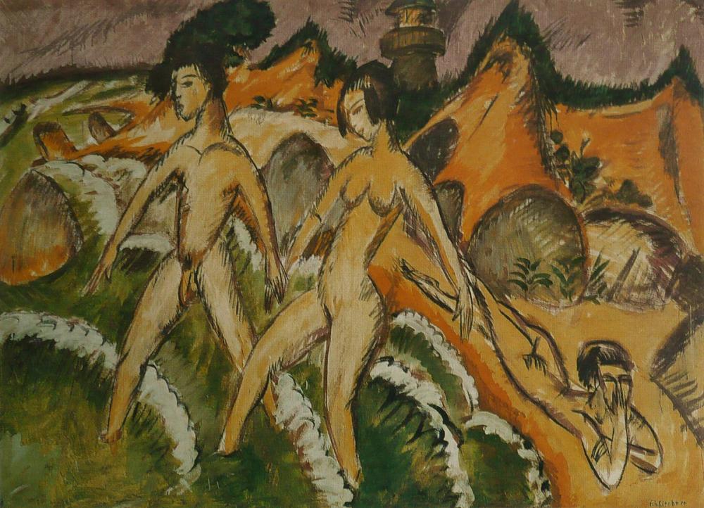 Ernst Ludwig Kirchner, Denize Giren İnsanlar, Figür, Ernst Ludwig Kirchner, kanvas tablo, canvas print sales