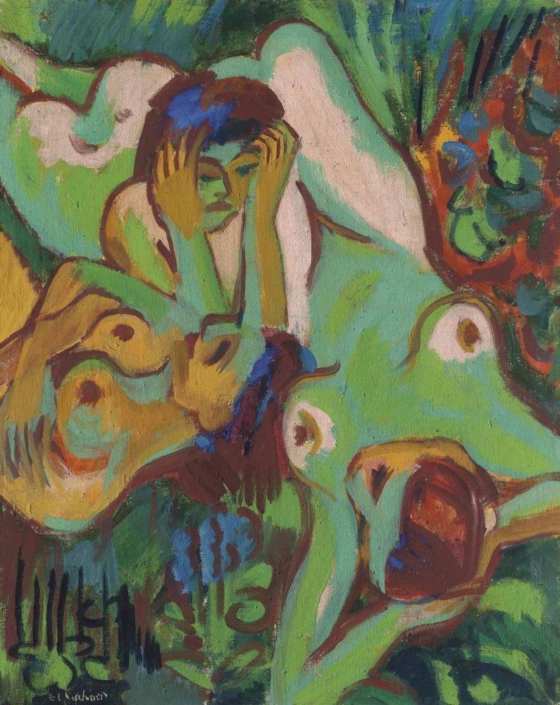 Ernst Ludwig Kirchner, Badende in Der Wiese, Figure, Ernst Ludwig Kirchner, kanvas tablo, canvas print sales