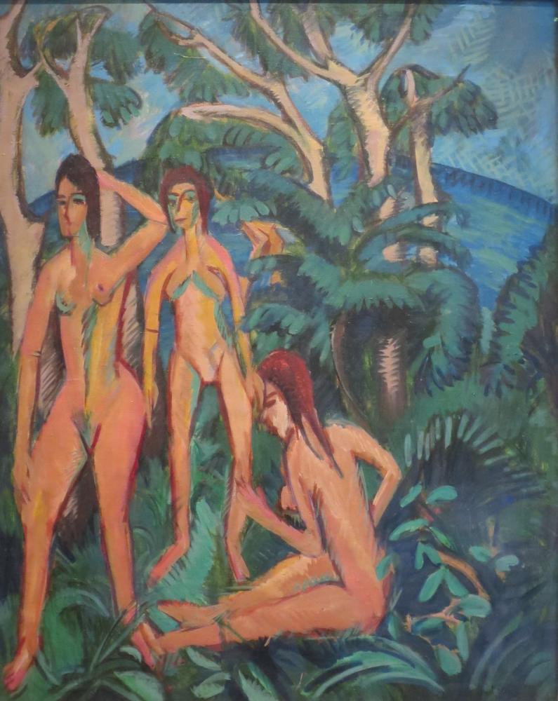 Ernst Ludwig Kirchner, Fehmarn Ağaçlarının Altındaki Yıkananlar, Figür, Ernst Ludwig Kirchner, kanvas tablo, canvas print sales