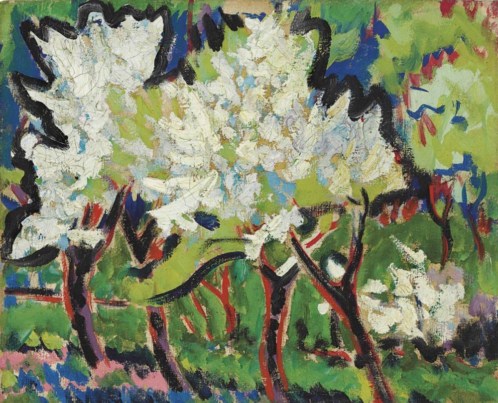 Ernst Ludwig Kirchner, Çiçekli Ağaçlar IV, Kanvas Tablo, Ernst Ludwig Kirchner, kanvas tablo, canvas print sales