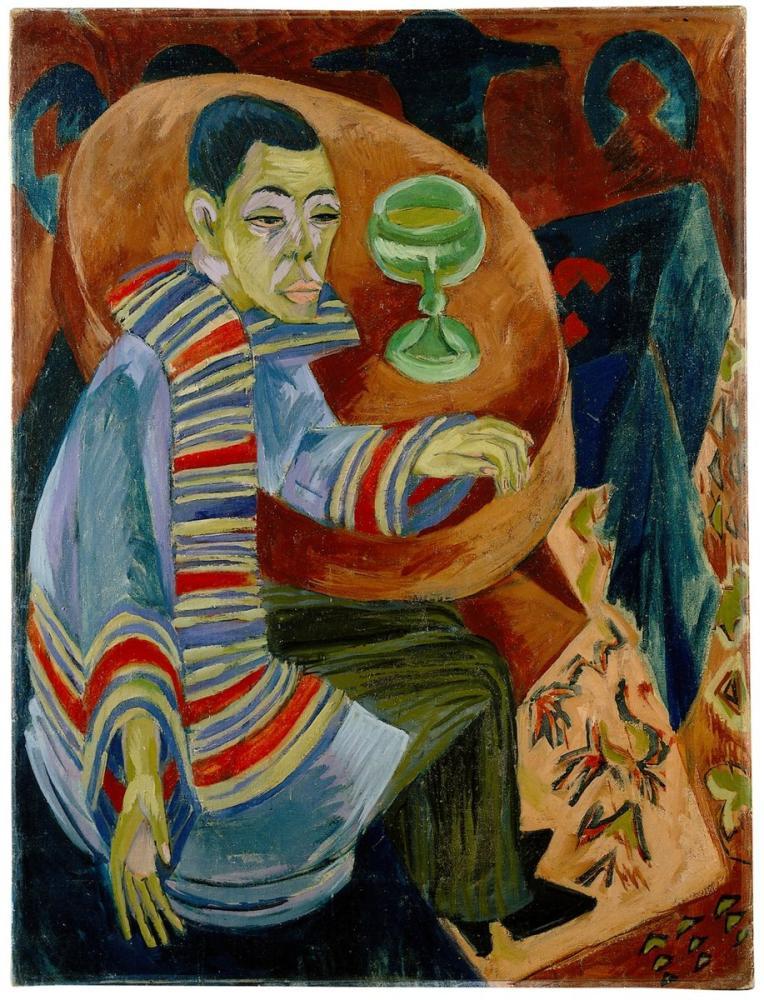 Ernst Ludwig Kirchner,  Der Trinker Selbstbildnis, Figure, Ernst Ludwig Kirchner, kanvas tablo, canvas print sales