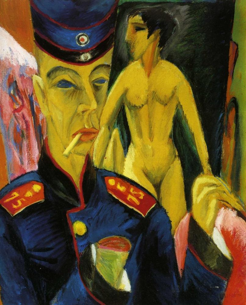 Ernst Ludwig Kirchner, Asker Olarak Otoportre, Figür, Ernst Ludwig Kirchner, kanvas tablo, canvas print sales