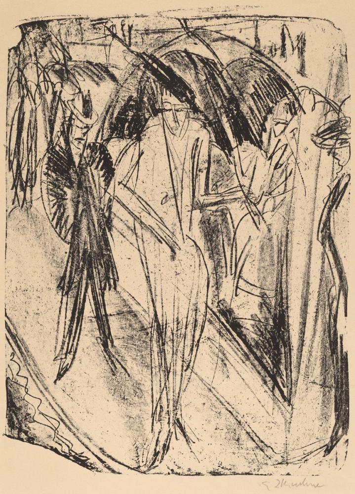 Ernst Ludwig Kirchner, Yağmurdaki Leydi, Figür, Ernst Ludwig Kirchner, kanvas tablo, canvas print sales