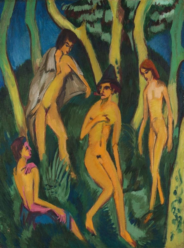 Ernst Ludwig Kirchner, Nudes playing under trees, Figure, Ernst Ludwig Kirchner, kanvas tablo, canvas print sales