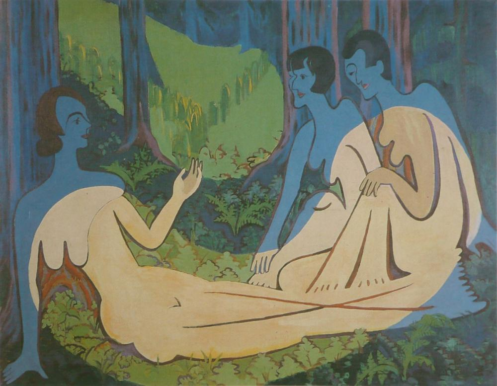 Ernst Ludwig Kirchner, Üç Çıplak, Figür, Ernst Ludwig Kirchner, kanvas tablo, canvas print sales