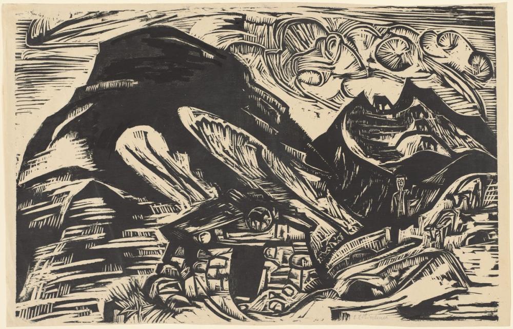Ernst Ludwig Kirchner, Dağ Kulübesi ile Dağlar, Kanvas Tablo, Ernst Ludwig Kirchner, kanvas tablo, canvas print sales