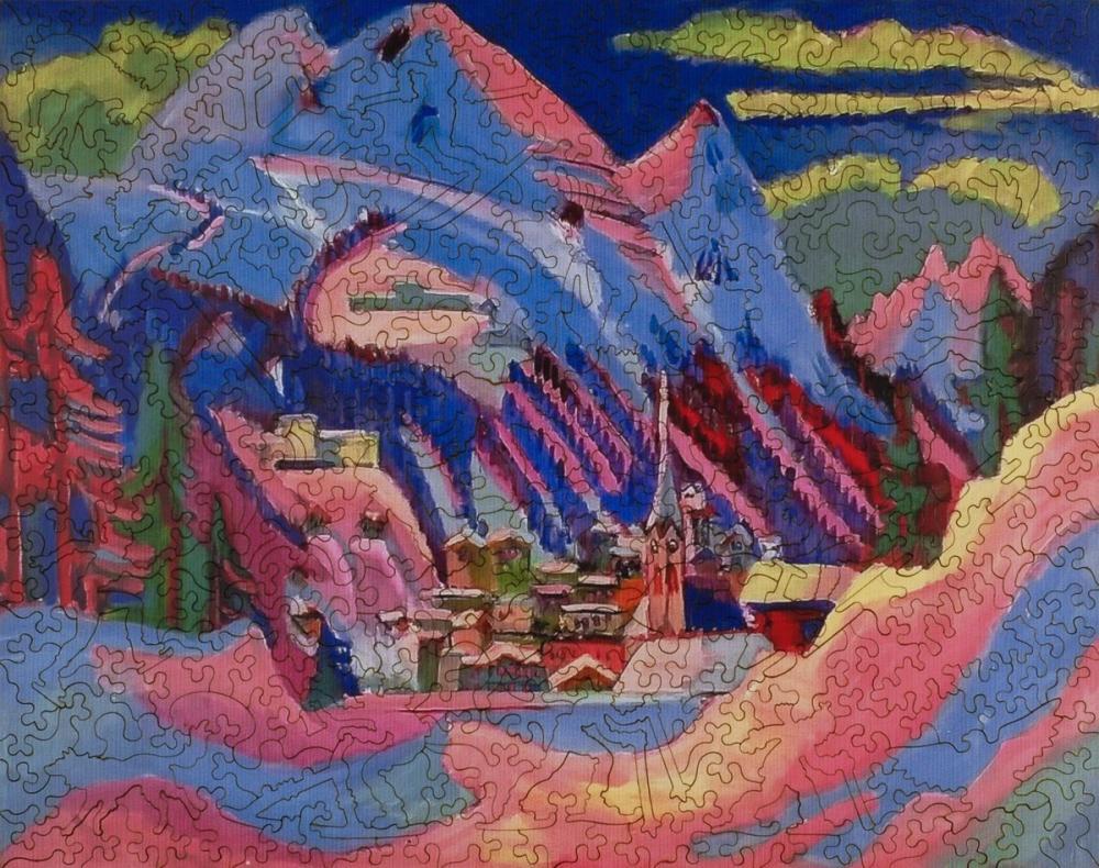Ernst Ludwig Kirchner, Davos Kış Bulmaca XL, Kanvas Tablo, Ernst Ludwig Kirchner, kanvas tablo, canvas print sales