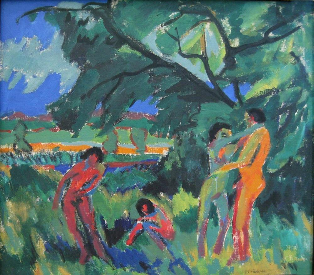 Ernst Ludwig Kirchner, Çıplak İnsanlar Oynuyor, Figür, Ernst Ludwig Kirchner, kanvas tablo, canvas print sales