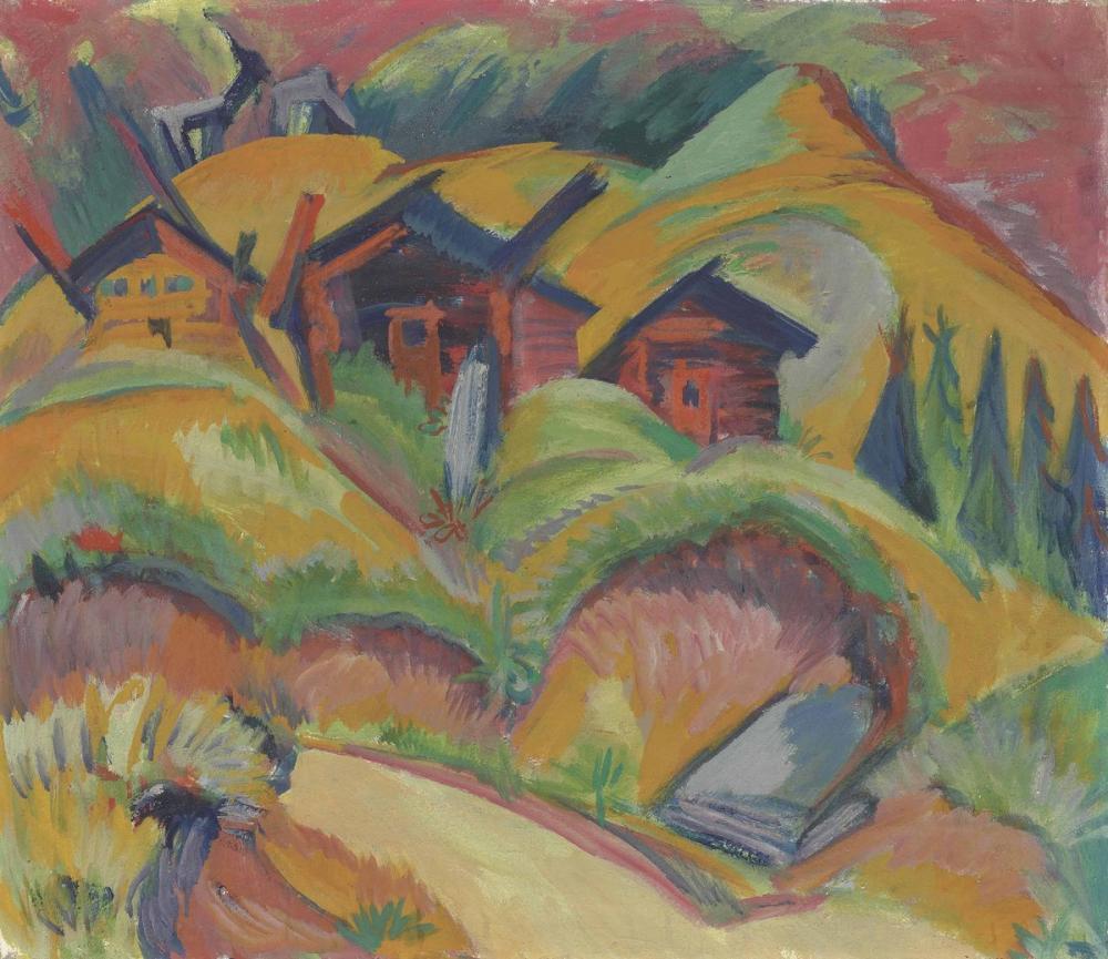 Ernst Ludwig Kirchner, Tepede Üç Kulübe, Kırmızı Kulübe, Kanvas Tablo, Ernst Ludwig Kirchner, kanvas tablo, canvas print sales