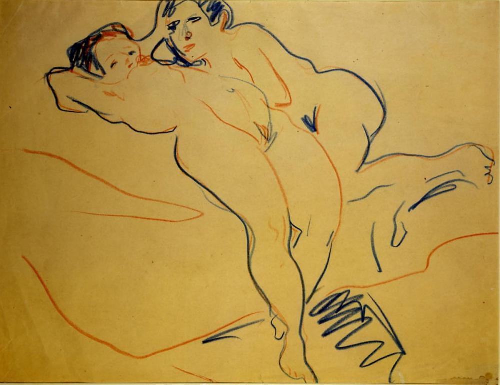 Ernst Ludwig Kirchner, Dinlenme Çift, Figür, Ernst Ludwig Kirchner, kanvas tablo, canvas print sales