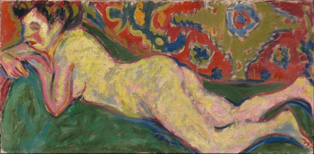 Ernst Ludwig Kirchner, Uzanmış Çıplak, Figür, Ernst Ludwig Kirchner, kanvas tablo, canvas print sales