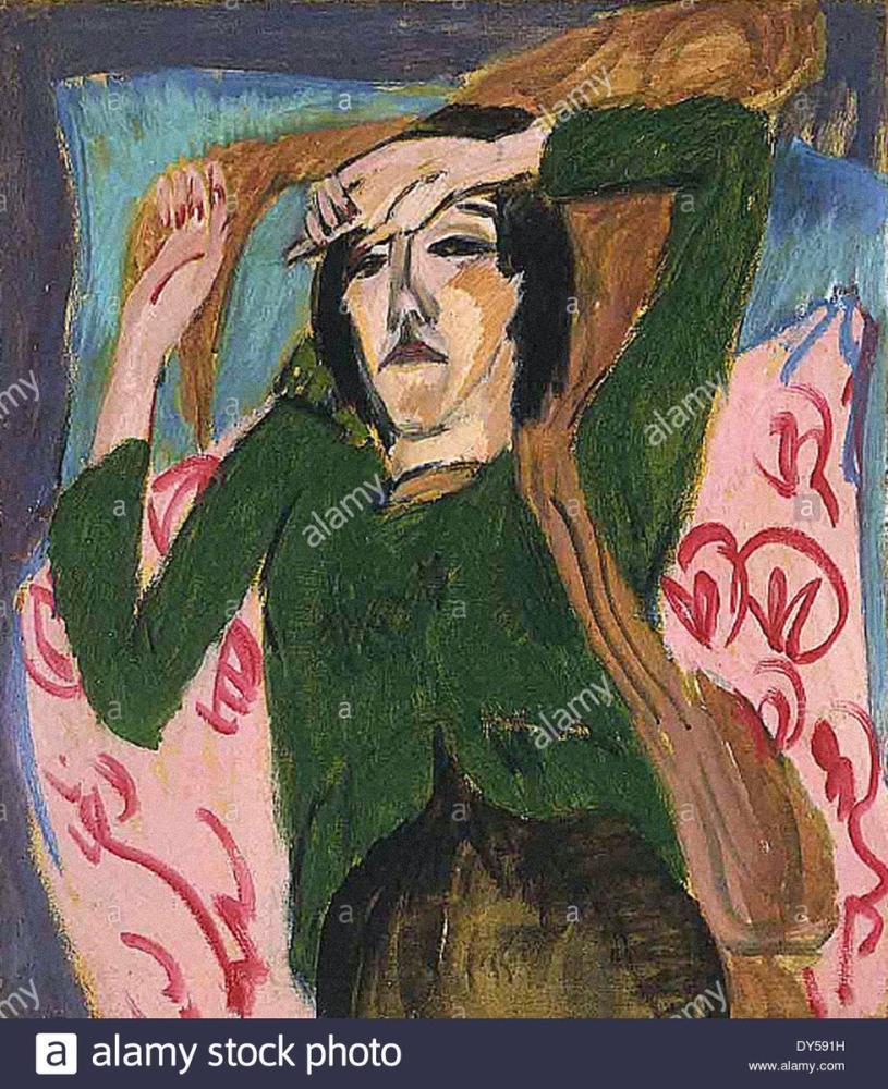 Ernst Ludwig Kirchner, Yeşil Bluzlu Kadın, Figür, Ernst Ludwig Kirchner, kanvas tablo, canvas print sales