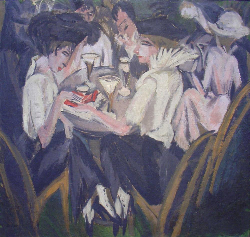 Ernst Ludwig Kirchner, Kafe Bahçesinde, Figür, Ernst Ludwig Kirchner, kanvas tablo, canvas print sales