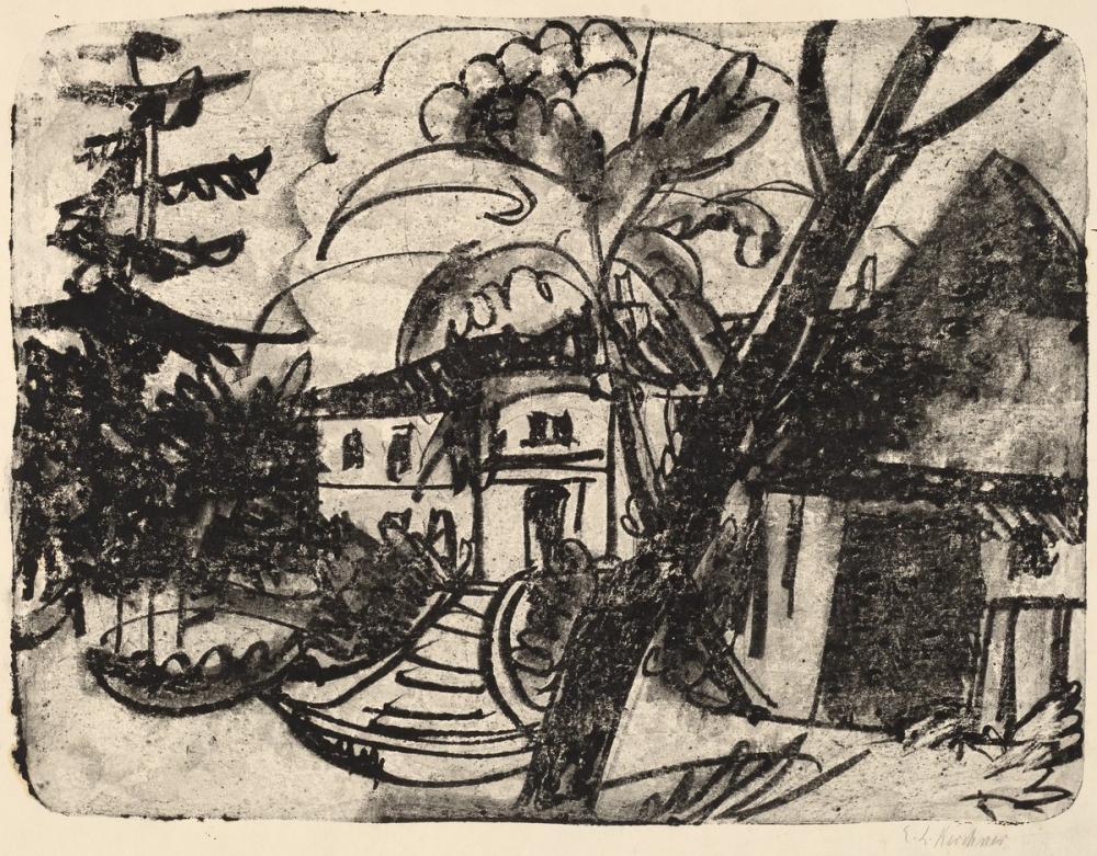 Ernst Ludwig Kirchner, Manor House ile Danimarka Çiftliği, Kanvas Tablo, Ernst Ludwig Kirchner, kanvas tablo, canvas print sales