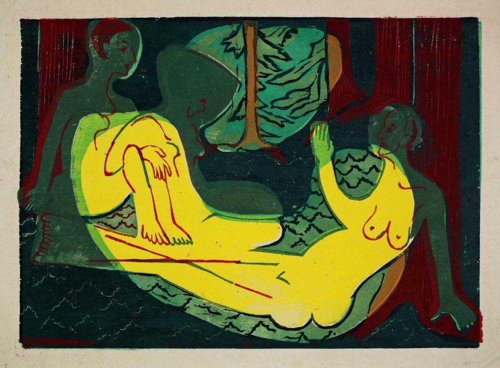 Ernst Ludwig Kirchner, Ormanda İki Çıplak, Figür, Ernst Ludwig Kirchner, kanvas tablo, canvas print sales