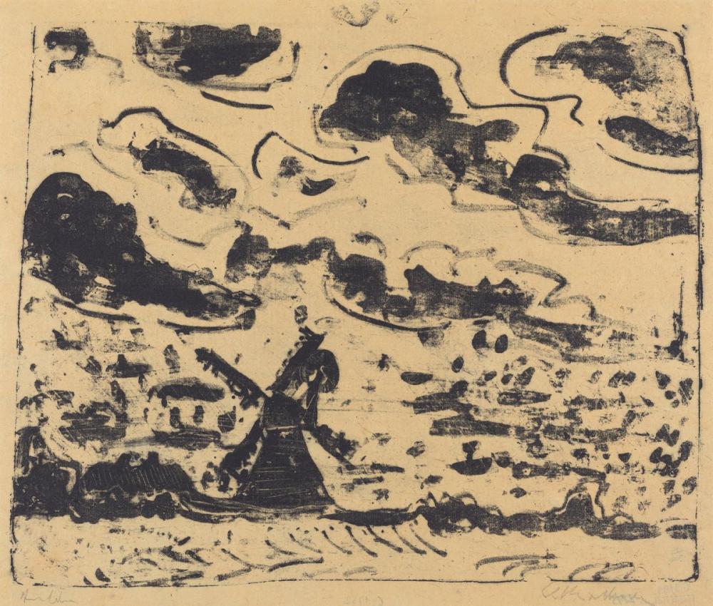 Ernst Ludwig Kirchner, Burg on Fehmarn Yakınındaki Yel Değirmeni, Kanvas Tablo, Ernst Ludwig Kirchner, kanvas tablo, canvas print sales