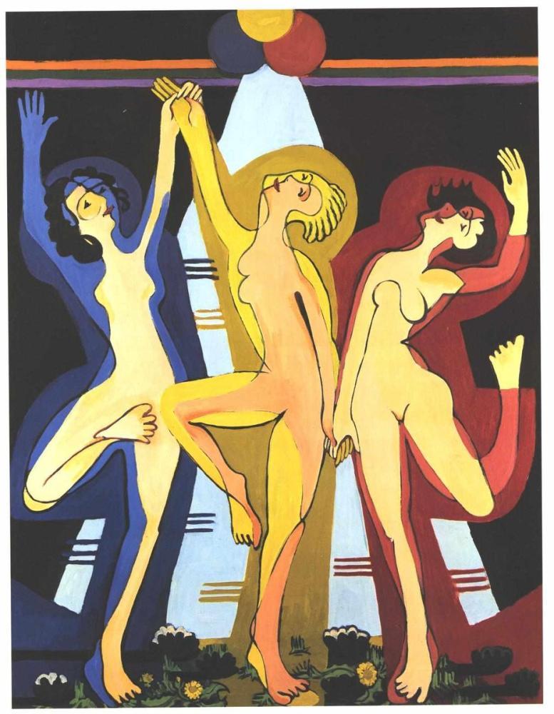 Ernst Ludwig Kirchner, Renk Dansı, Figür, Ernst Ludwig Kirchner, kanvas tablo, canvas print sales