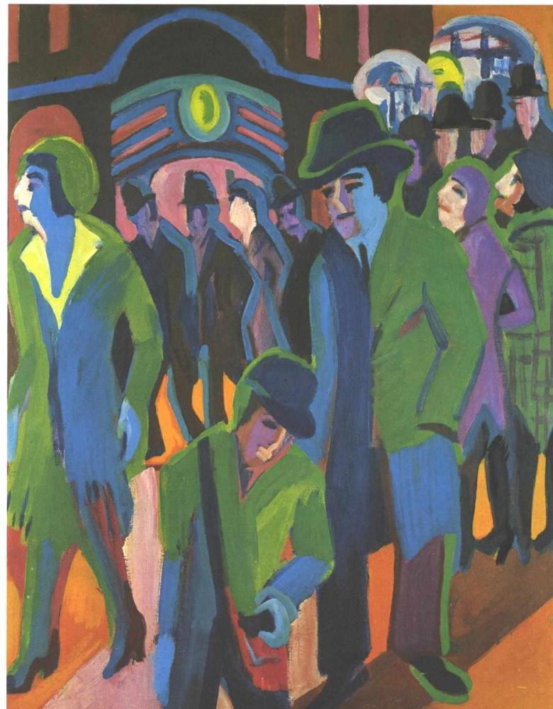 Ernst Ludwig Kirchner, İnsanlar Sokakta Yürürken, Figür, Ernst Ludwig Kirchner, kanvas tablo, canvas print sales