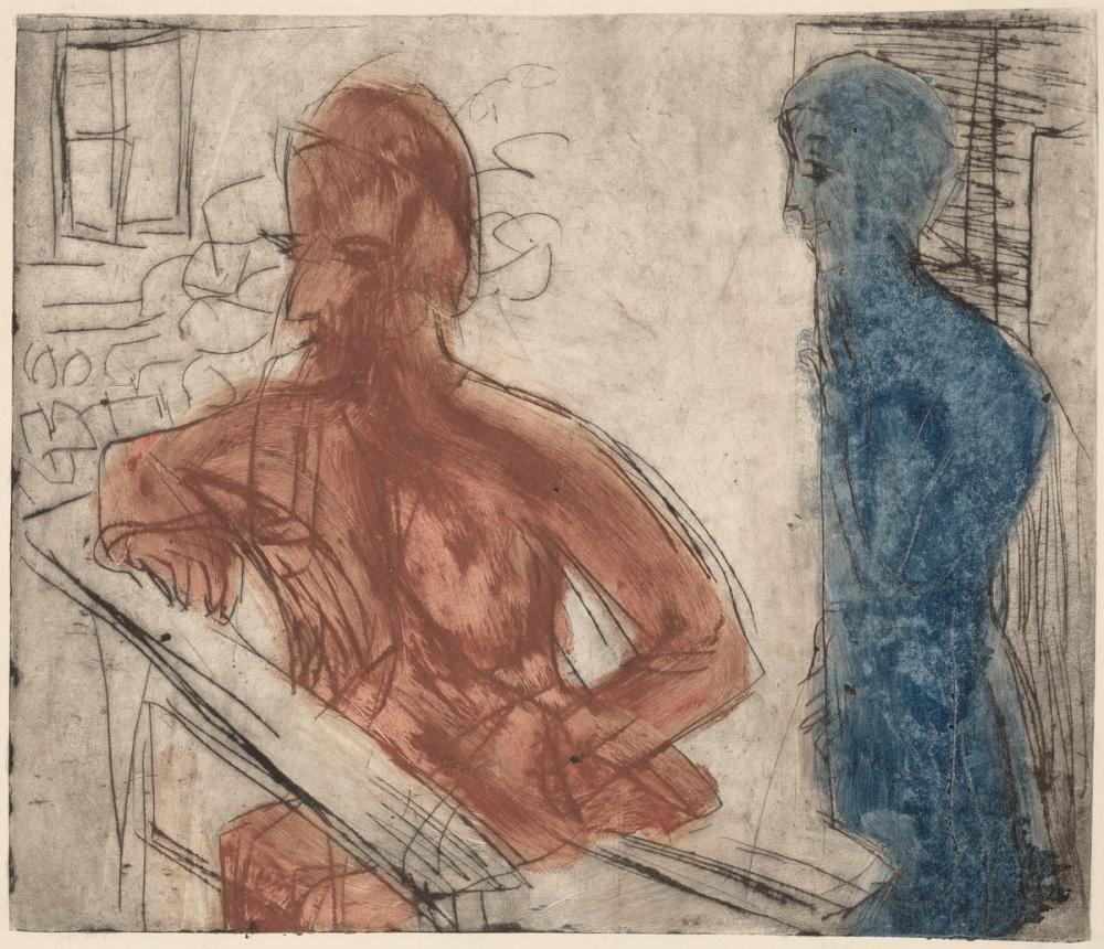 Ernst Ludwig Kirchner, Köylü ve Kız, Figür, Ernst Ludwig Kirchner, kanvas tablo, canvas print sales