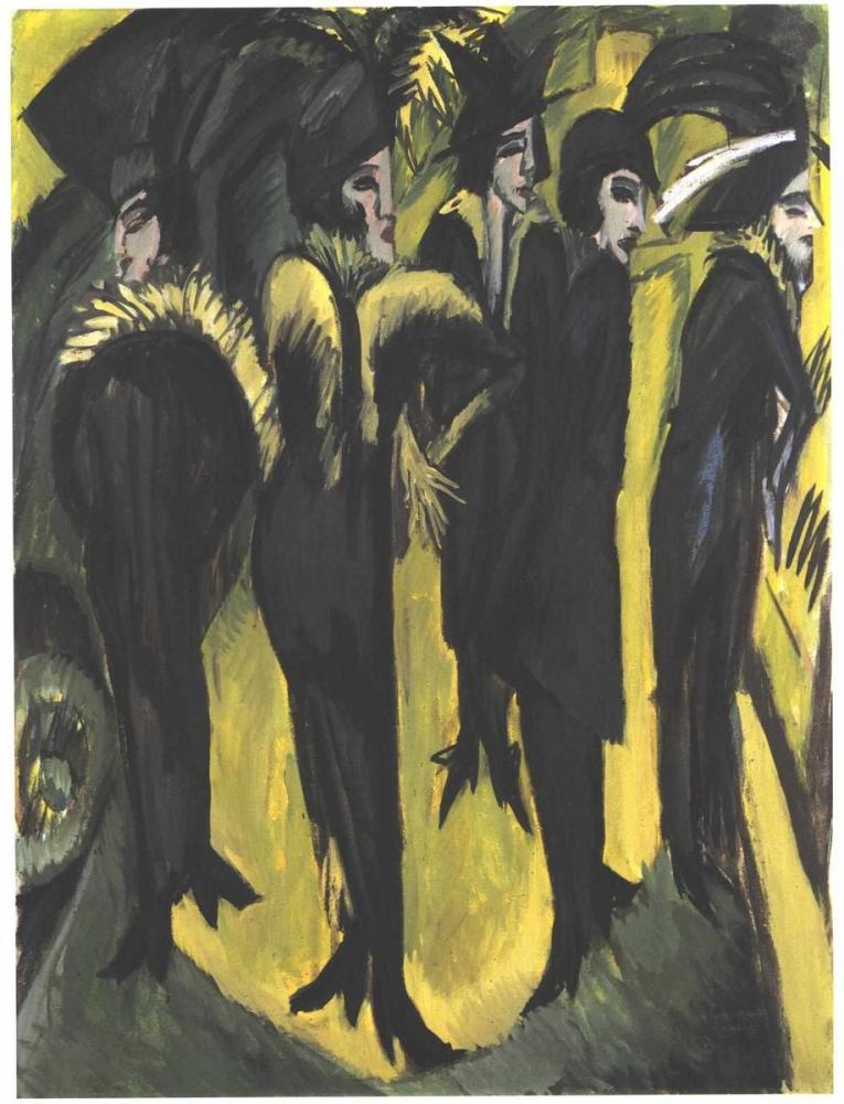 Ernst Ludwig Kirchner, Sokakta Beş Kadın, Figür, Ernst Ludwig Kirchner, kanvas tablo, canvas print sales