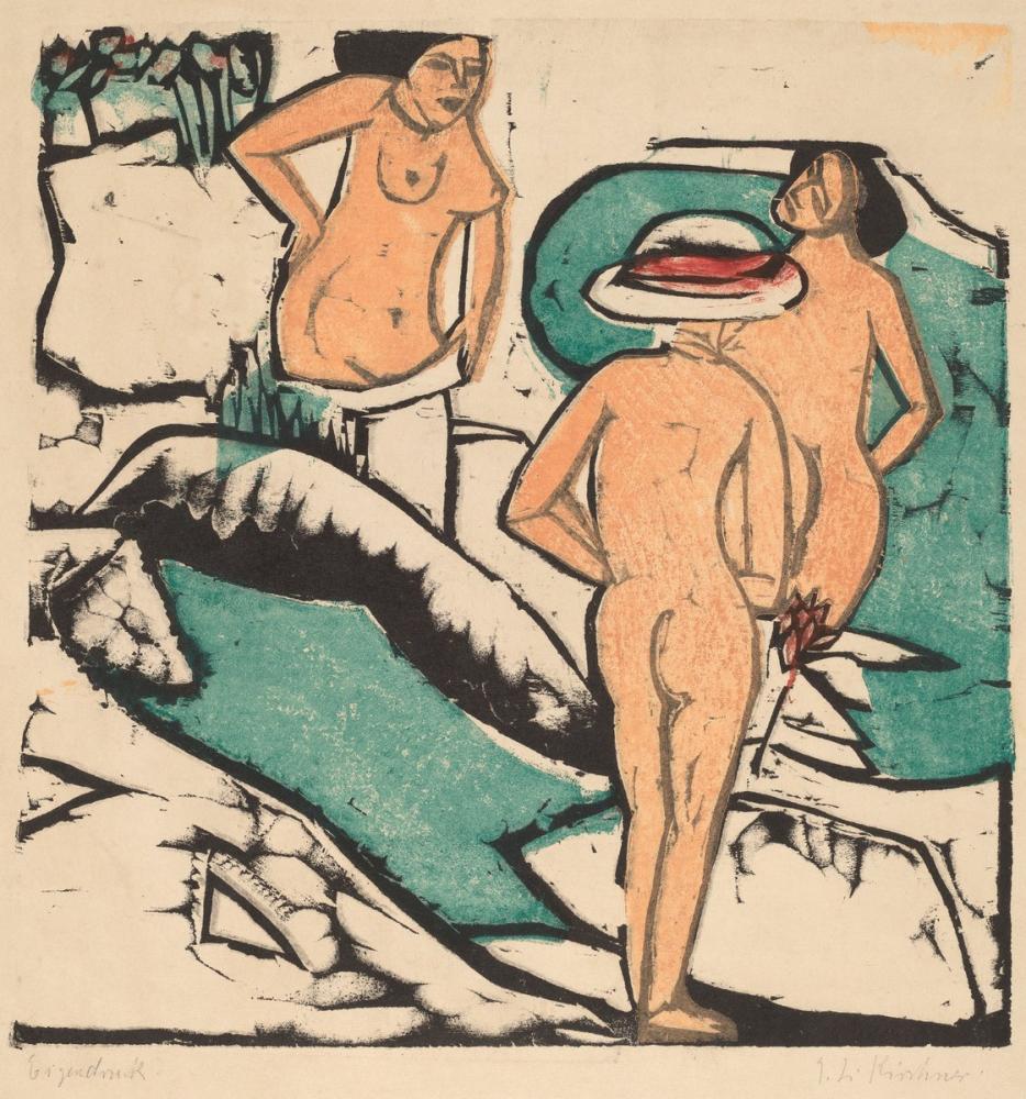Ernst Ludwig Kirchner, Beyaz Taşlar Arasında Banyo Yapan Kadınlar, Figür, Ernst Ludwig Kirchner, kanvas tablo, canvas print sales