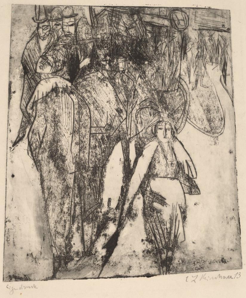 Ernst Ludwig Kirchner, Bir Omnibus ile Sokak Sahnesi, Figür, Ernst Ludwig Kirchner, kanvas tablo, canvas print sales
