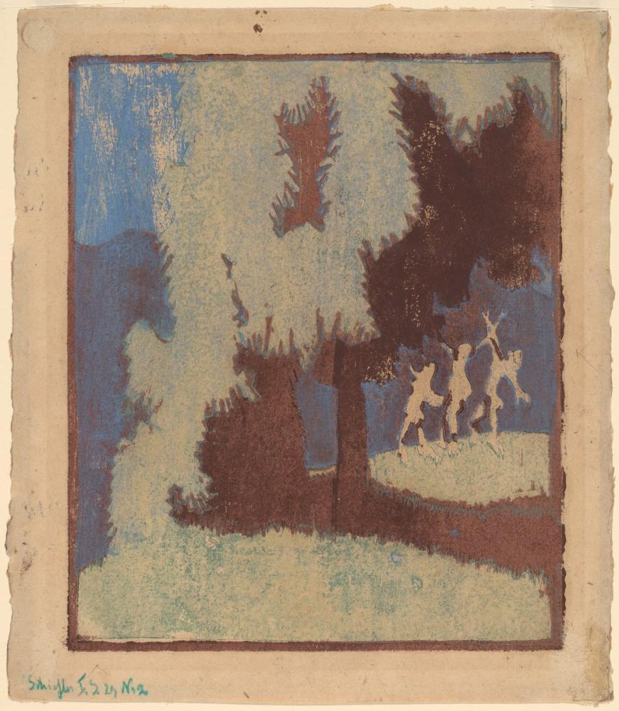 Ernst Ludwig Kirchner, Ay Işığında Kestane Ağaçları, Kanvas Tablo, Ernst Ludwig Kirchner, kanvas tablo, canvas print sales