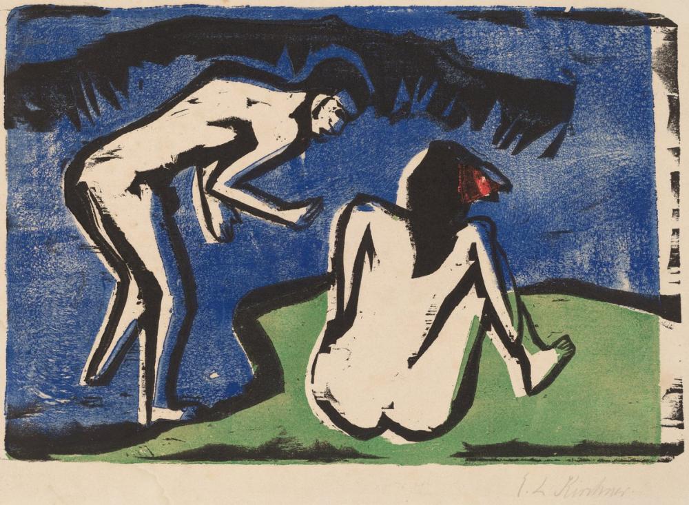 Ernst Ludwig Kirchner, Banyo Yapan Çift, Figür, Ernst Ludwig Kirchner, kanvas tablo, canvas print sales