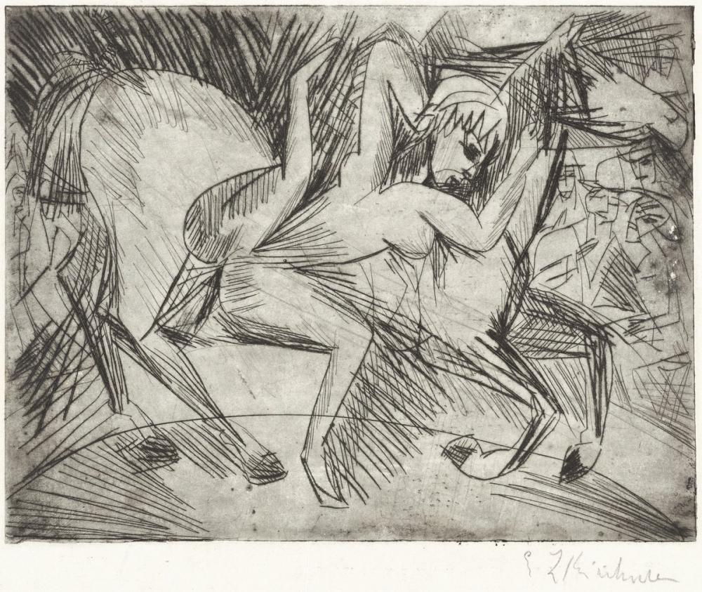Ernst Ludwig Kirchner, Bir At Üstünde Akrobat, Figür, Ernst Ludwig Kirchner, kanvas tablo, canvas print sales