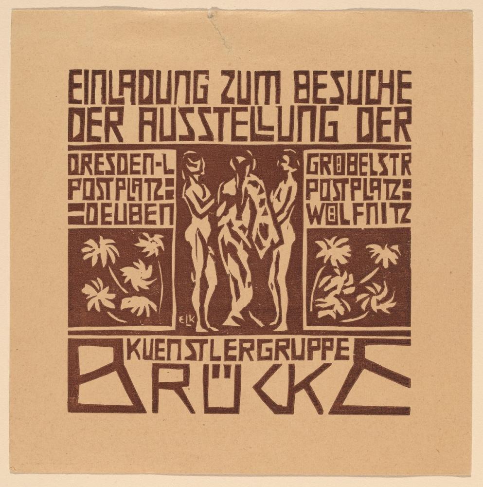 Ernst Ludwig Kirchner, Sanatçı Grubu Brücke Sergisine Davet, Figür, Ernst Ludwig Kirchner, kanvas tablo, canvas print sales