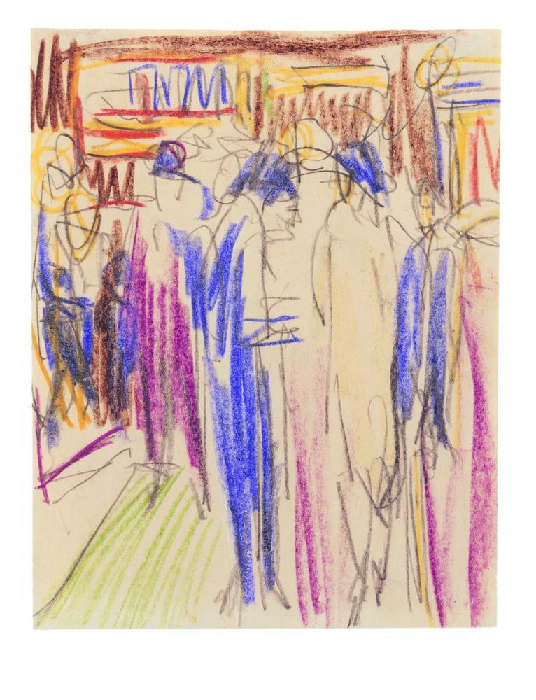 Ernst Ludwig Kirchner, Olbricht Çevresindeki Sokak Sahnesi, Figür, Ernst Ludwig Kirchner, kanvas tablo, canvas print sales
