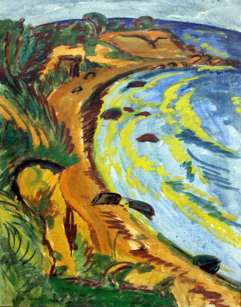 Ernst Ludwig Kirchner, Fehmarn Kıyısında Koy, Kanvas Tablo, Ernst Ludwig Kirchner, kanvas tablo, canvas print sales