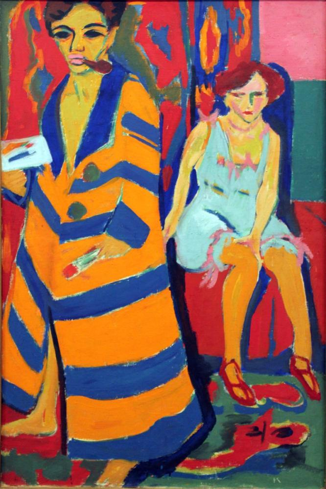 Ernst Ludwig Kirchner, Model ile Otoportre, Figür, Ernst Ludwig Kirchner, kanvas tablo, canvas print sales